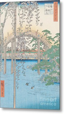 The Bridge With Wisteria Metal Print by Hiroshige