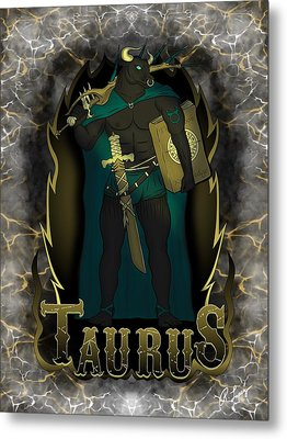 Metal Print featuring the drawing The Bull - Taurus Spirit by Raphael Lopez