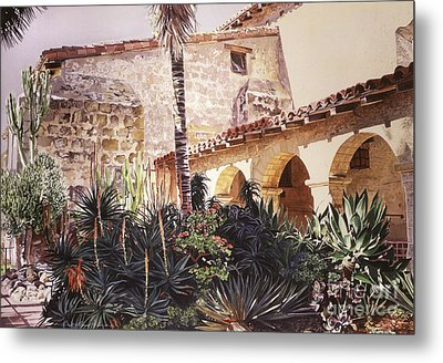 The Cactus Courtyard - Mission Santa Barbara Metal Print by David Lloyd Glover