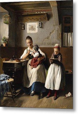 The Caring Mother Metal Print by Franz Meyerheim