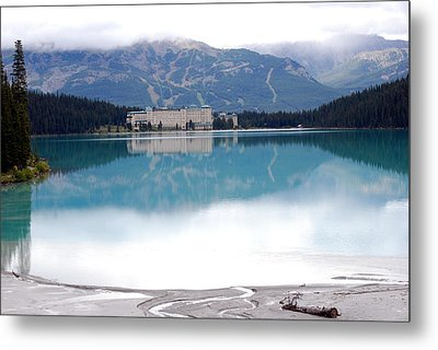 The Chateau At Lake Louise Metal Print by Harvey Barrison