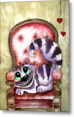 The Cheshire Cat - Lovely Sofa Metal Print by Lucia Stewart