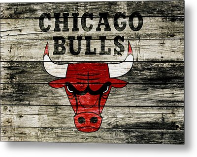 The Chicago Bulls Wood Art Metal Print by Brian Reaves