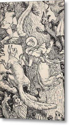 The Children Climbed The Christmas Tree With Animals And All Metal Print by Walter Crane