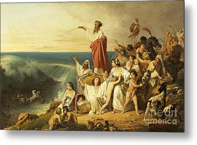 The Children Of Israel Crossing The Red Sea Metal Print by Henri-Frederic Schopin