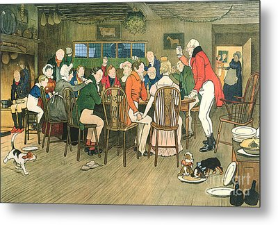 The Christmas Dinner At The Inn Metal Print by Cecil Charles Windsor Aldin