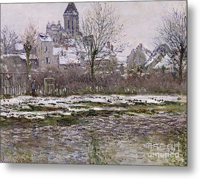 The Church At Vetheuil Under Snow Metal Print by Claude Monet