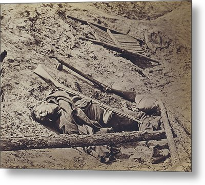 The Civil War, Dead Confederate Soldier Metal Print by Everett