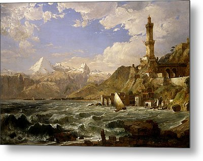 The Coast Of Genoa Metal Print by Jasper Francis Cropsey