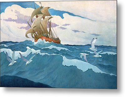 The Coming Of The Mayflower  Metal Print by Newell Convers Wyeth