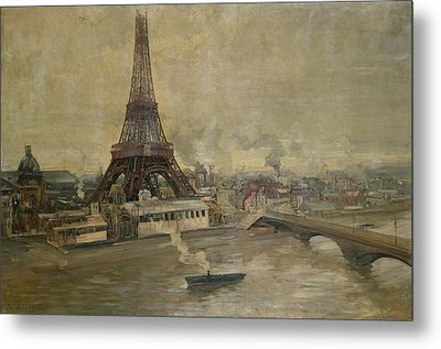 The Construction Of The Eiffel Tower Metal Print by Paul Louis Delance