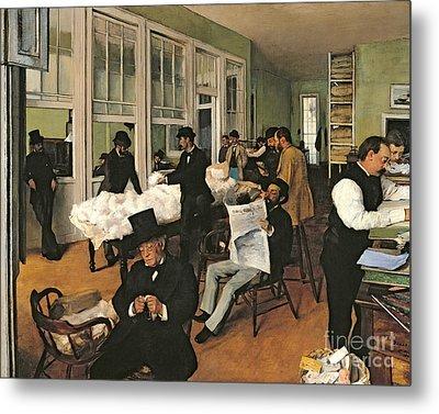 The Cotton Exchange Metal Print by Edgar Degas