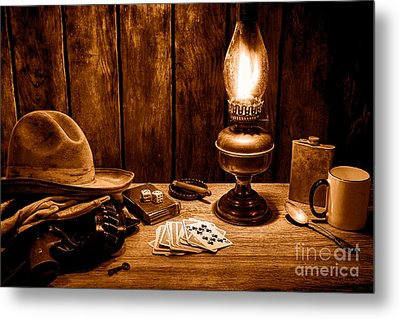 The Cowboy Nightstand - Sepia Metal Print by Olivier Le Queinec
