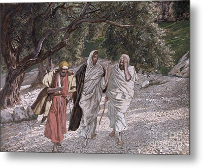 The Disciples On The Road To Emmaus Metal Print by Tissot