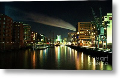 The Docks Of Hamburg By Night Metal Print by Rob Hawkins