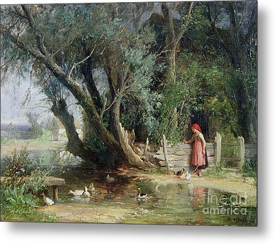 The Duck Pond Metal Print by Eduard Heinel