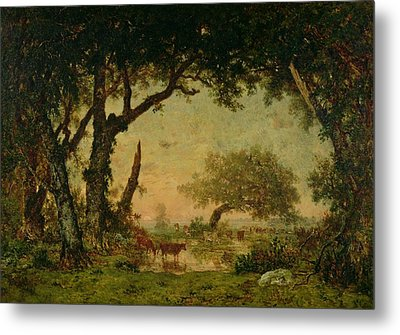 The Edge Of The Forest At Fontainebleau Metal Print by Theodore Rousseau