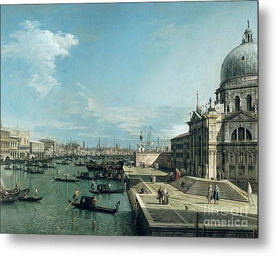 The Entrance To The Grand Canal And The Church Of Santa Maria Della Salute Metal Print by Canaletto