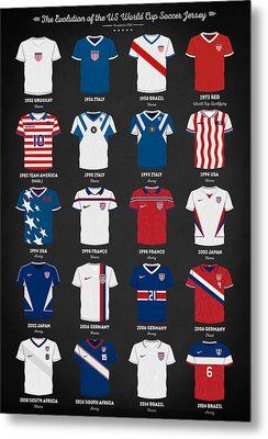 The Evolution Of The Us World Cup Soccer Jersey Metal Print by Taylan Apukovska