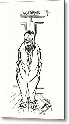 The Exclusion Of Emile Zola From The Academie Francaise Metal Print by Aubrey Beardsley