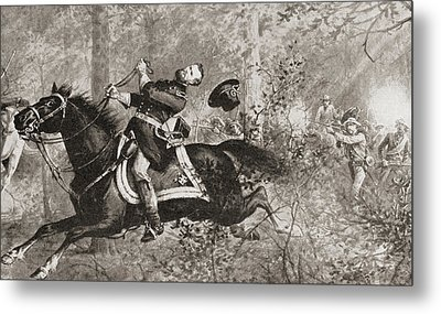 The Fall Of General James Birdseye Mcpherson Metal Print by American School