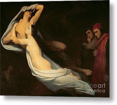 The Figures Of Francesca Da Rimini And Paolo Da Verrucchio Appear To Dante And Virgil Metal Print by Ary Scheffer