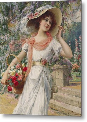The Flower Girl Metal Print by Emile Vernon