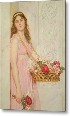 The Flower Seller Metal Print by George Lawrence Bulleid