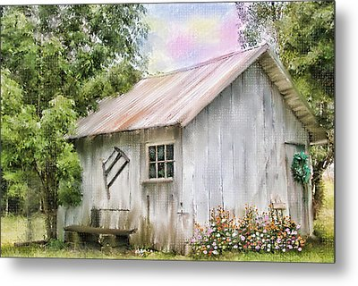 The Flower Shed Metal Print by Mary Timman