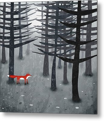The Fox And The Forest Metal Print by Nic Squirrell