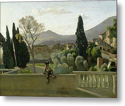 The Gardens Of The Villa Deste Metal Print by Jean Baptiste Camill  Corot