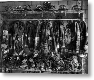 The Gear Of Heroes - Firemen - Fire Station Metal Print by Lee Dos Santos
