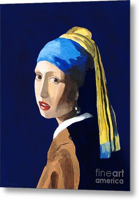 Metal Print featuring the painting The Girl With A Pearl Earring After Vermeer by Rodney Campbell