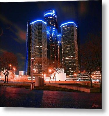 The Gm Renaissance Center At Night From Hart Plaza Detroit Michigan Metal Print by Gordon Dean II