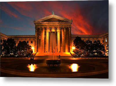 The Golden Columns - Philadelphia Museum Of Art - Sunset Metal Print by Lee Dos Santos