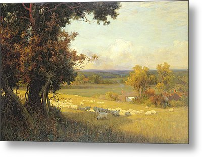 The Golden Valley Metal Print by Sir Alfred East