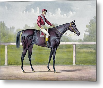 The Grand Racer Kingston  Metal Print by Currier and Ives