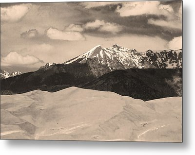 The Great Sand Dunes And Sangre De Cristo Mountains - Sepia Metal Print by James BO  Insogna