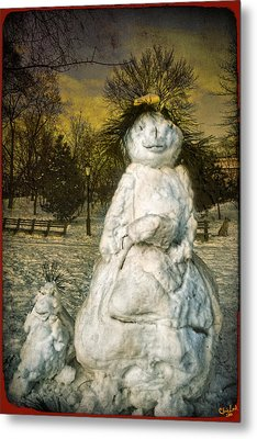 The Grunge Snowperson And Small Goth Friend Metal Print by Chris Lord