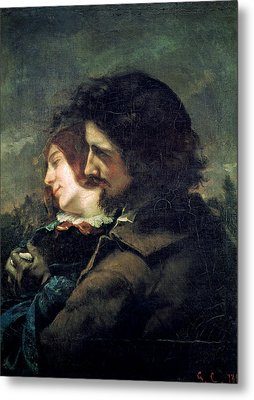 The Happy Lovers Metal Print by Gustave Courbet