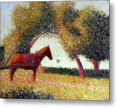 The Harnessed Horse Metal Print by Georges Pierre Seurat