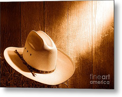The Hat - Sepia Metal Print by Olivier Le Queinec
