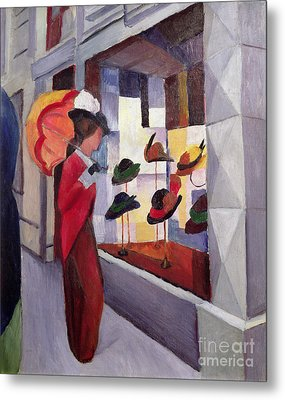 The Hat Shop Metal Print by August Macke