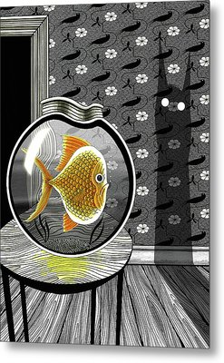The Haunted Goldfish Bowl  Metal Print by Andrew Hitchen