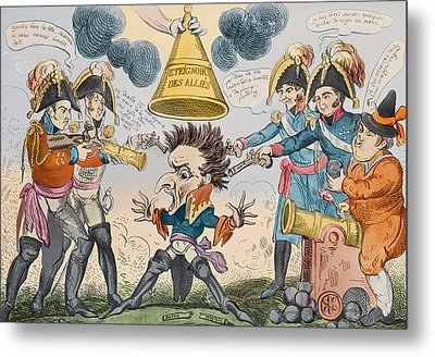 The Head Of The Great Nation In A Queer Situation Metal Print by George Cruikshank