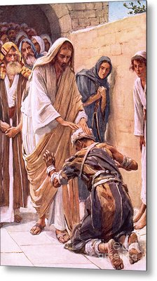 The Healing Of The Leper Metal Print by Harold Copping