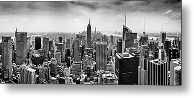 New York City Skyline Bw Metal Print by Az Jackson