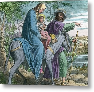 The Holy Family And The Flight Into Egypt Metal Print by German School