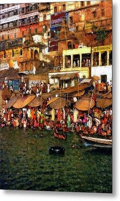 The Holy Ganges Impasto Metal Print by Steve Harrington