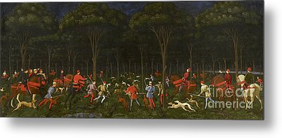 The Hunt In The Forest Metal Print by Paolo Uccello